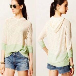 Sparrow Knitted Cream & Green Hoodie Sweatshirt